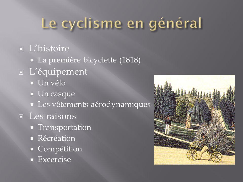Lhistoire La première bicyclette (1818) Léquipement Un vélo Un casque Les vêtements aérodynamiques Les raisons Transportation Récréation Compétition Excercise