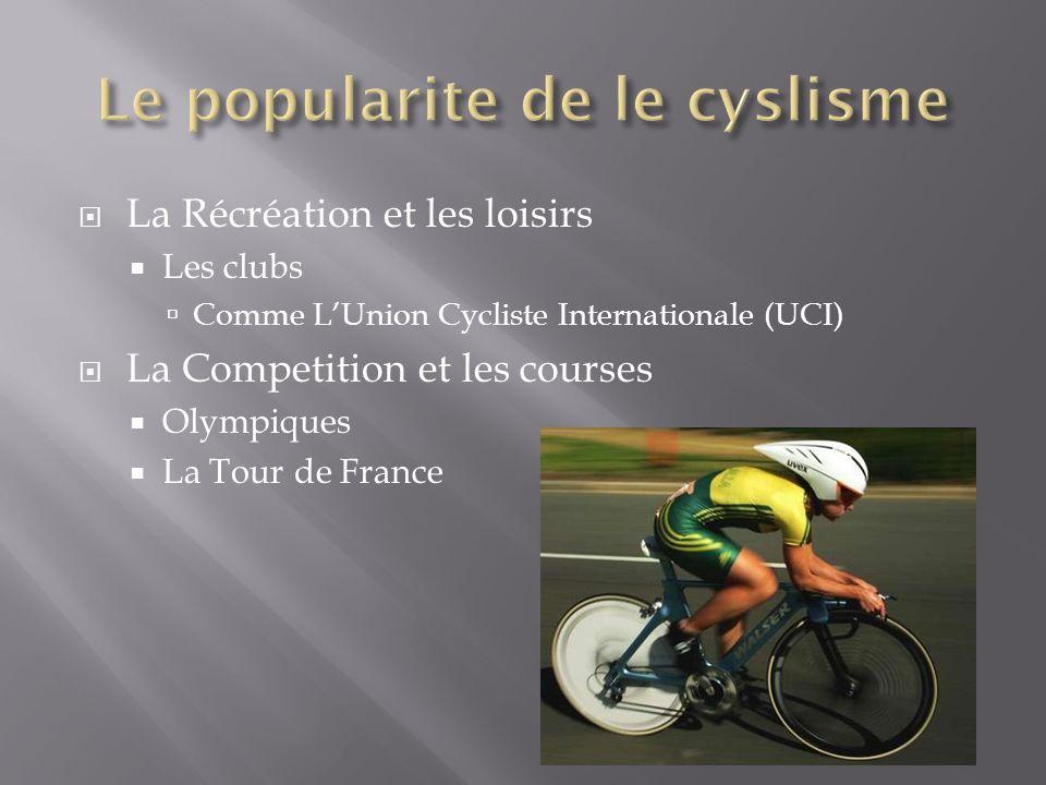 La Récréation et les loisirs Les clubs Comme LUnion Cycliste Internationale (UCI) La Competition et les courses Olympiques La Tour de France