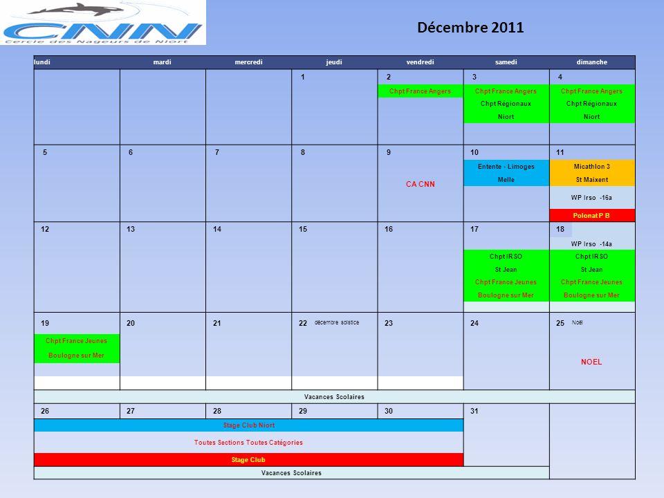 novembre 2011 lundimardimercredijeudivendredisamedidimanche 1 La Toussaint 2 3 4 5 6 FERIE CA CNN Interclubs Poule BInterclubs Poule A St Jean d'Angel
