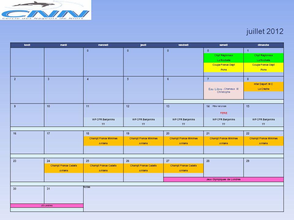 juin 2012 lundimardimercredijeudivendredisamedidimanche 1 2 3 Finale WP Irso -16a Finale Avenirs Poussins St Maixent - Am 4 5 6 7 8 9 10 CA CNN Inter