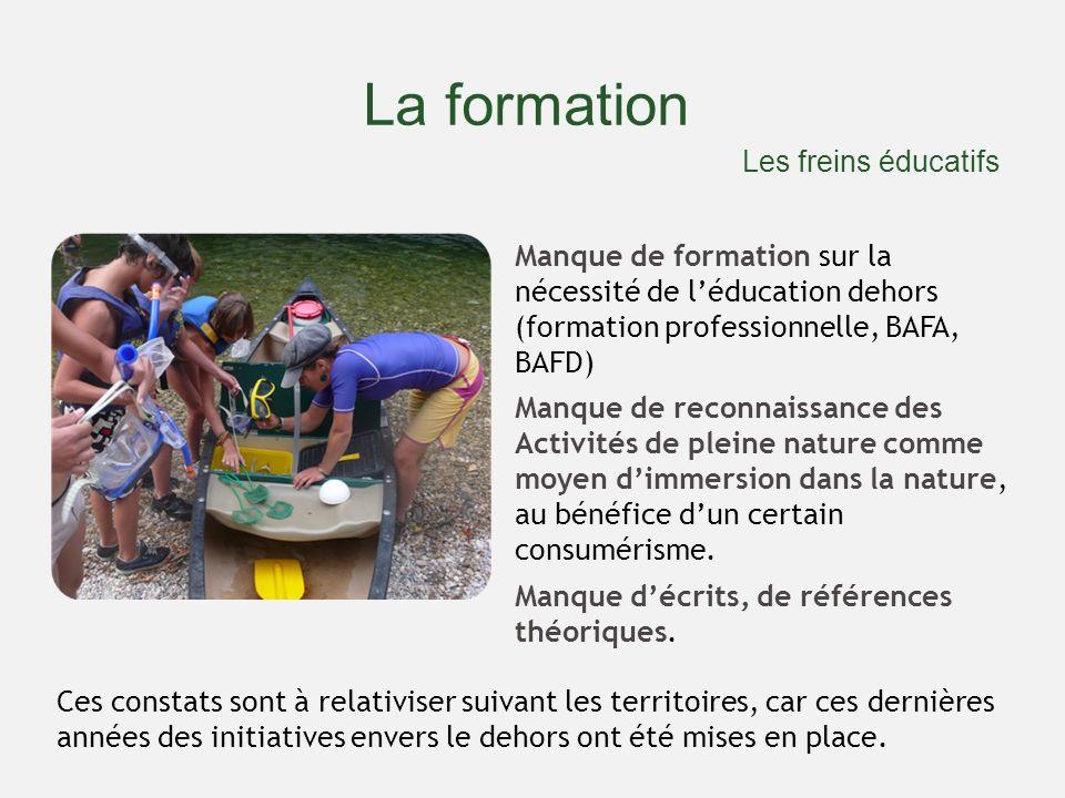 La formation Manque de formation sur la nécessité de léducation dehors (formation professionnelle, BAFA, BAFD) Manque de reconnaissance des Activités de pleine nature comme moyen dimmersion dans la nature, au bénéfice dun certain consumérisme.