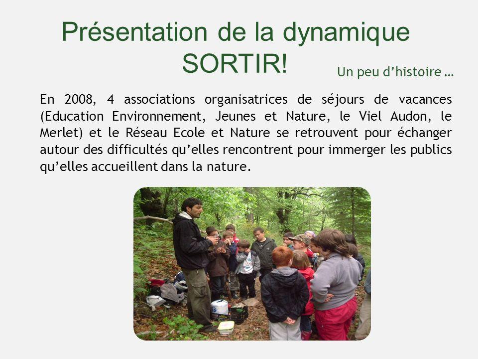 Présentation de la dynamique SORTIR! En 2008, 4 associations organisatrices de séjours de vacances (Education Environnement, Jeunes et Nature, le Viel