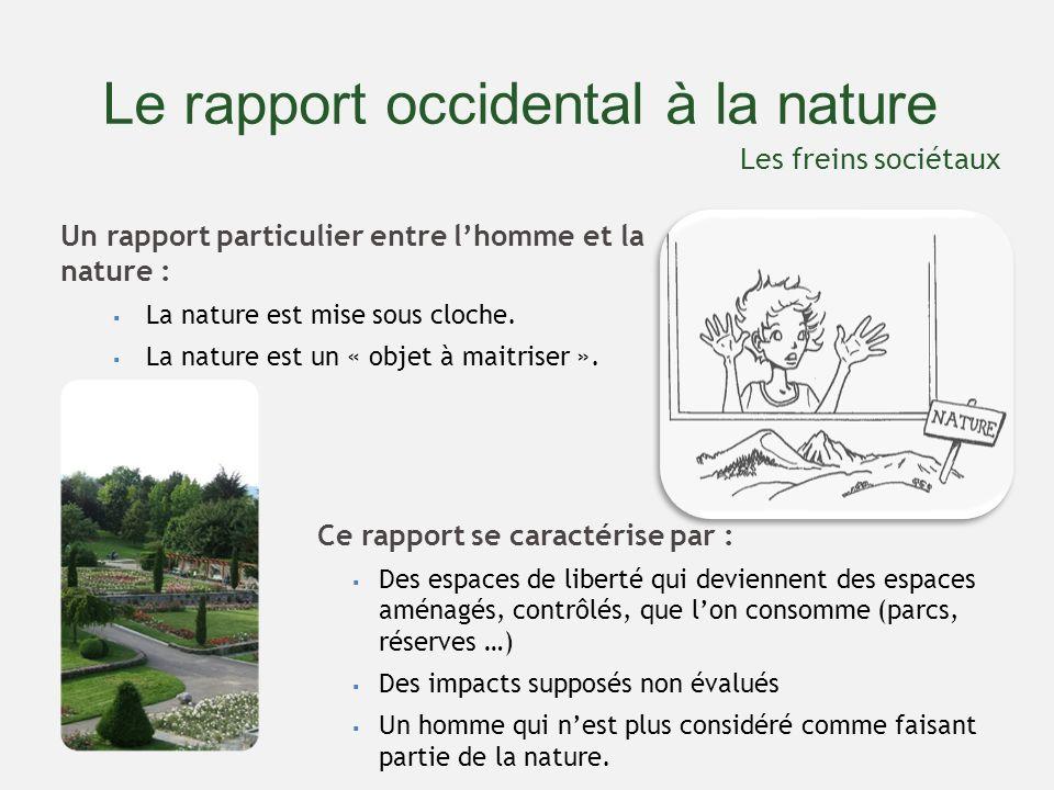 Le rapport occidental à la nature Un rapport particulier entre lhomme et la nature : La nature est mise sous cloche.