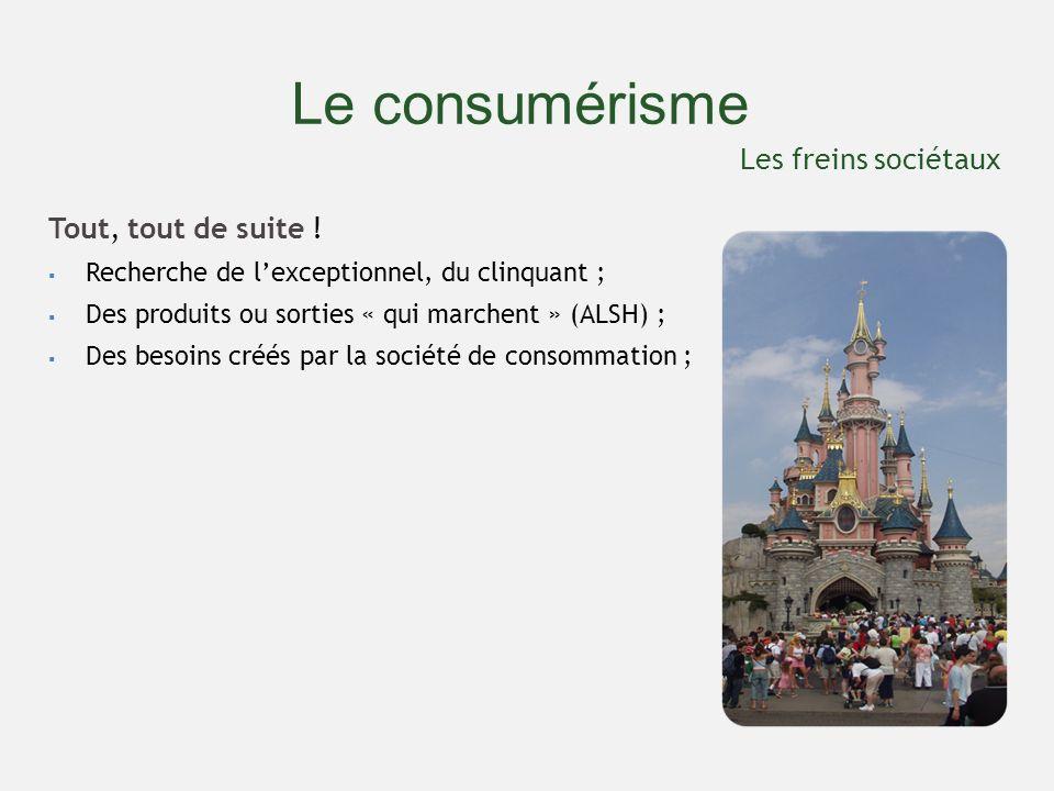 Le consumérisme Tout, tout de suite ! Recherche de lexceptionnel, du clinquant ; Des produits ou sorties « qui marchent » (ALSH) ; Des besoins créés p