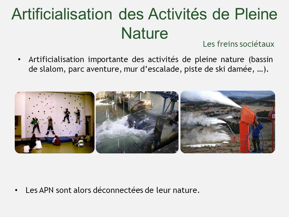 Artificialisation importante des activités de pleine nature (bassin de slalom, parc aventure, mur descalade, piste de ski damée, …). Artificialisation