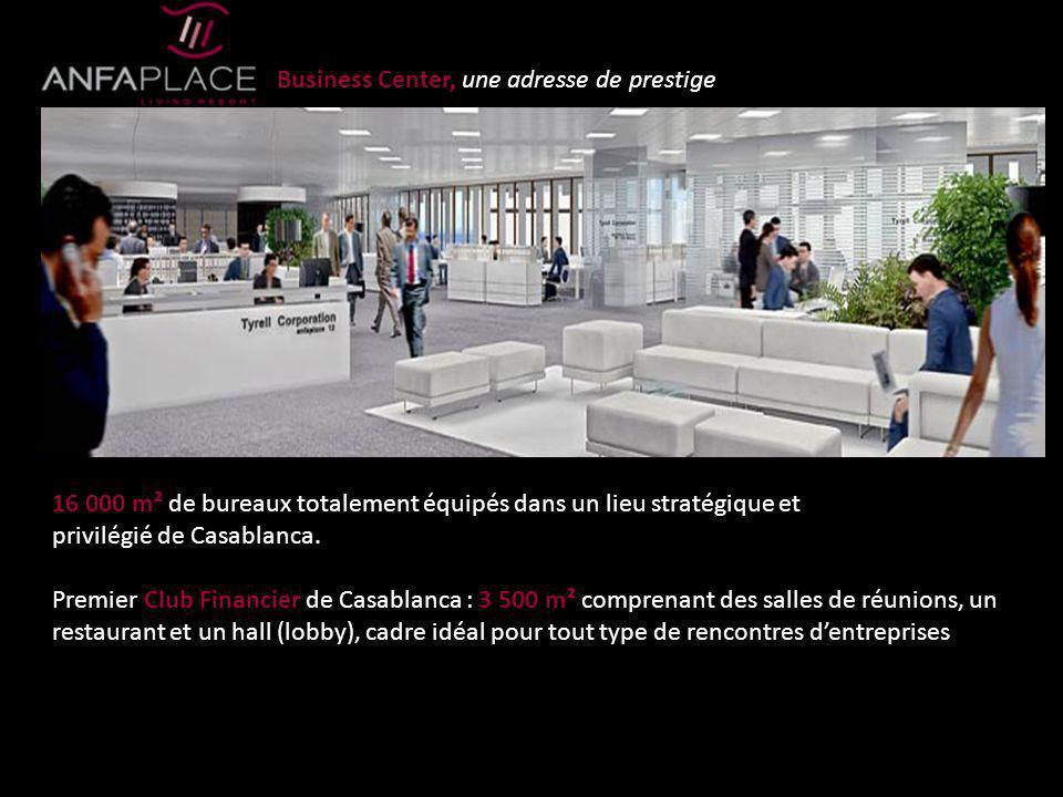 Business Center, une adresse de prestige 16 000 m² de bureaux totalement équipés dans un lieu stratégique et privilégié de Casablanca. Premier Club Fi