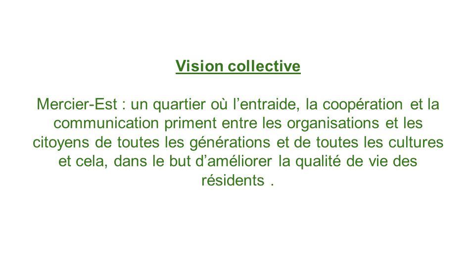 Vision collective Mercier-Est : un quartier où lentraide, la coopération et la communication priment entre les organisations et les citoyens de toutes les générations et de toutes les cultures et cela, dans le but daméliorer la qualité de vie des résidents.