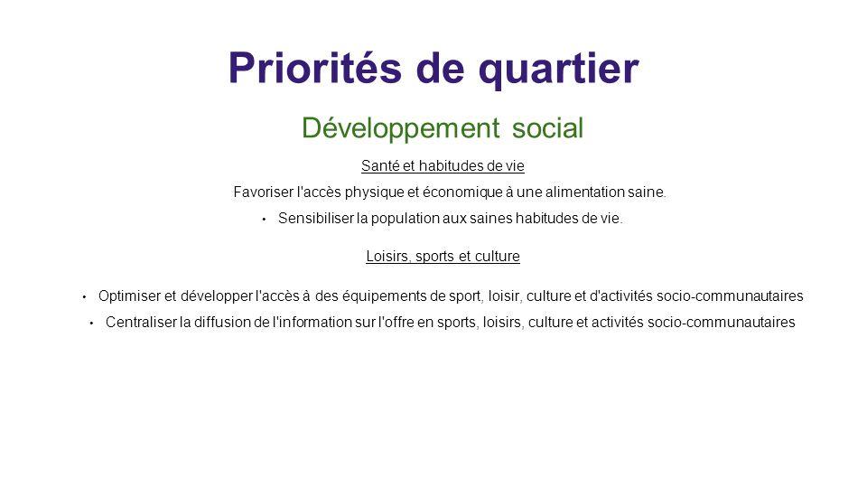 Priorités de quartier Développement social Santé et habitudes de vie Favoriser l'accès physique et économique à une alimentation saine. Sensibiliser l