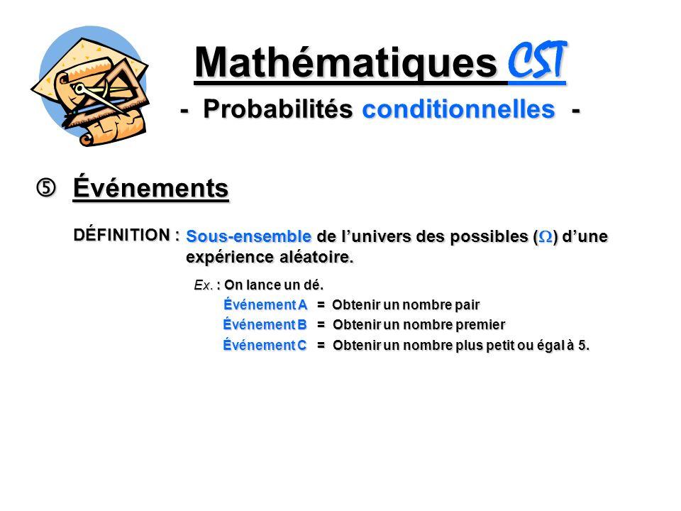 Mathématiques CST - Probabilités conditionnelles - Événements Événements DÉFINITION : Sous-ensemble de lunivers des possibles ( ) dune expérience aléa