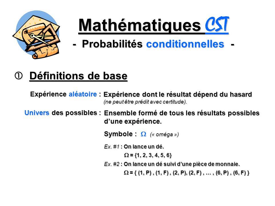 Mathématiques CST - Probabilités conditionnelles - Définitions de base Définitions de base Expérience aléatoire : Expérience dont le résultat dépend du hasard (ne peut être prédit avec certitude).