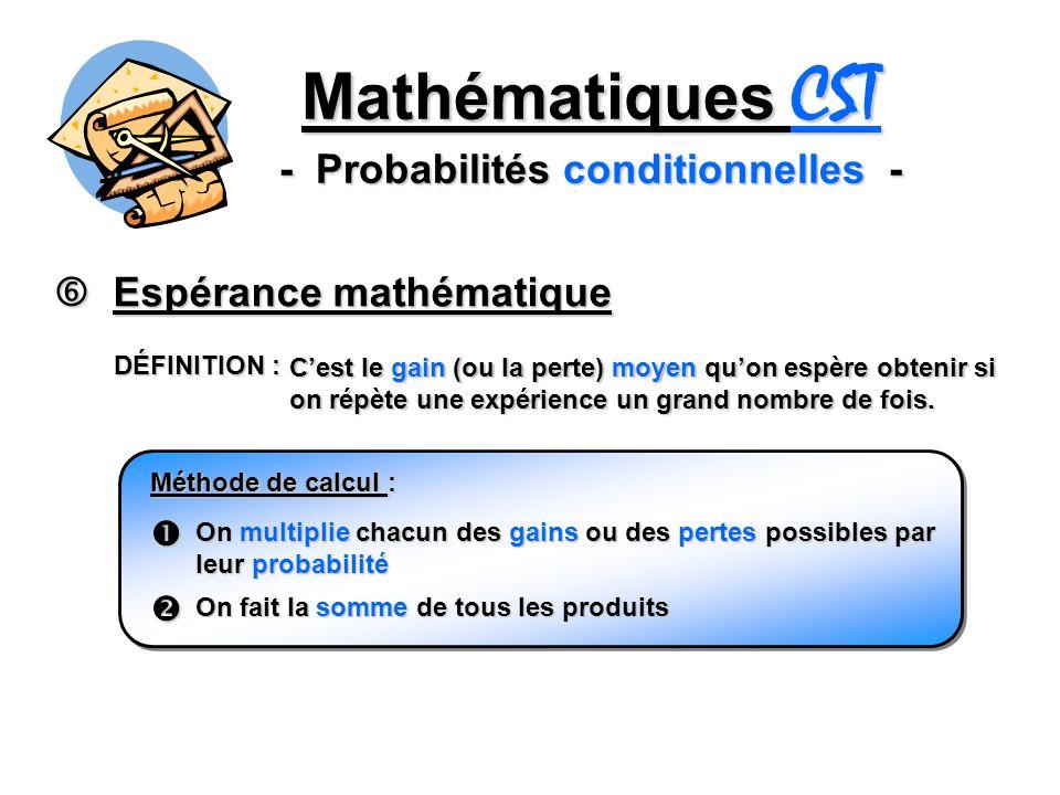 Mathématiques CST - Probabilités conditionnelles - Espérance mathématique Espérance mathématique DÉFINITION : Cest le gain (ou la perte) moyen quon espère obtenir si on répète une expérience un grand nombre de fois.