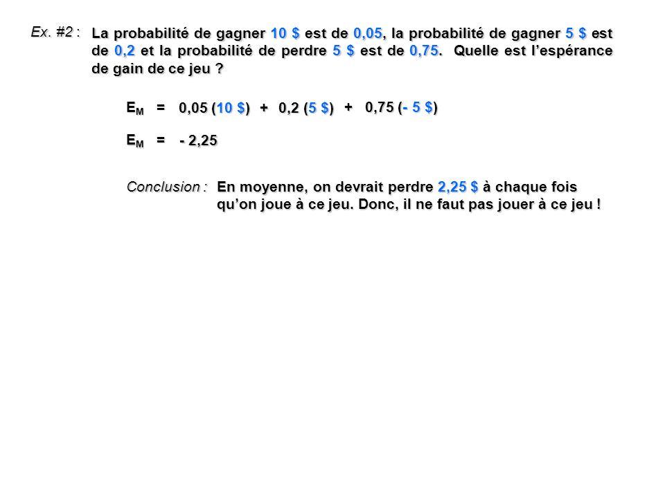 Ex. #2 : La probabilité de gagner 10 $ est de 0,05, la probabilité de gagner 5 $ est de 0,2 et la probabilité de perdre 5 $ est de 0,75. Quelle est le