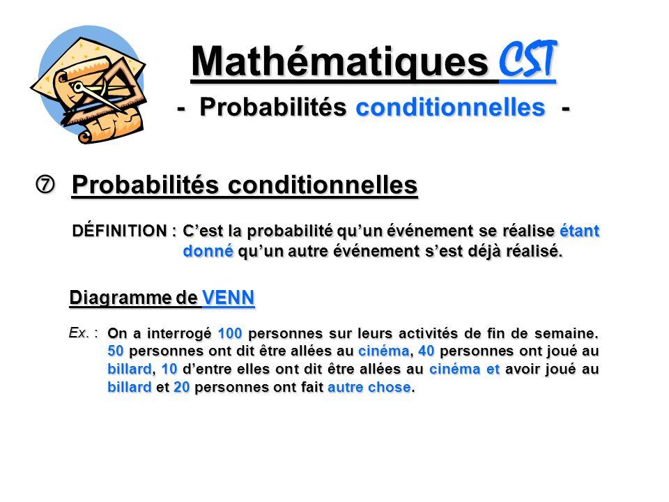 Mathématiques CST - Probabilités conditionnelles - Probabilités conditionnelles Probabilités conditionnelles DÉFINITION : Cest la probabilité quun événement se réalise étant donné quun autre événement sest déjà réalisé.