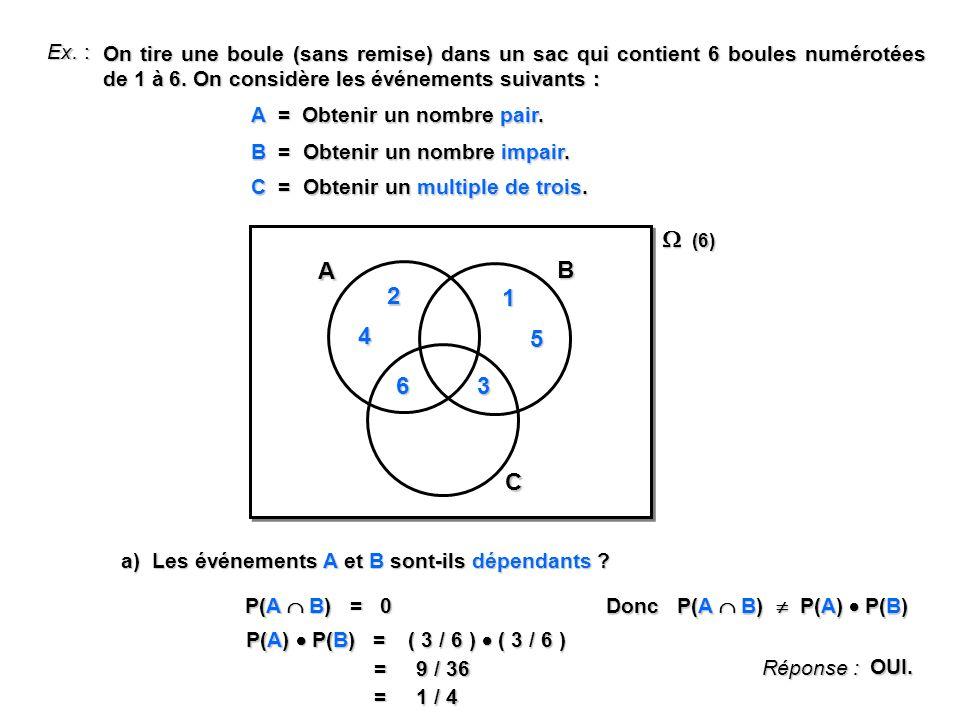 Ex.: On tire une boule (sans remise) dans un sac qui contient 6 boules numérotées de 1 à 6.