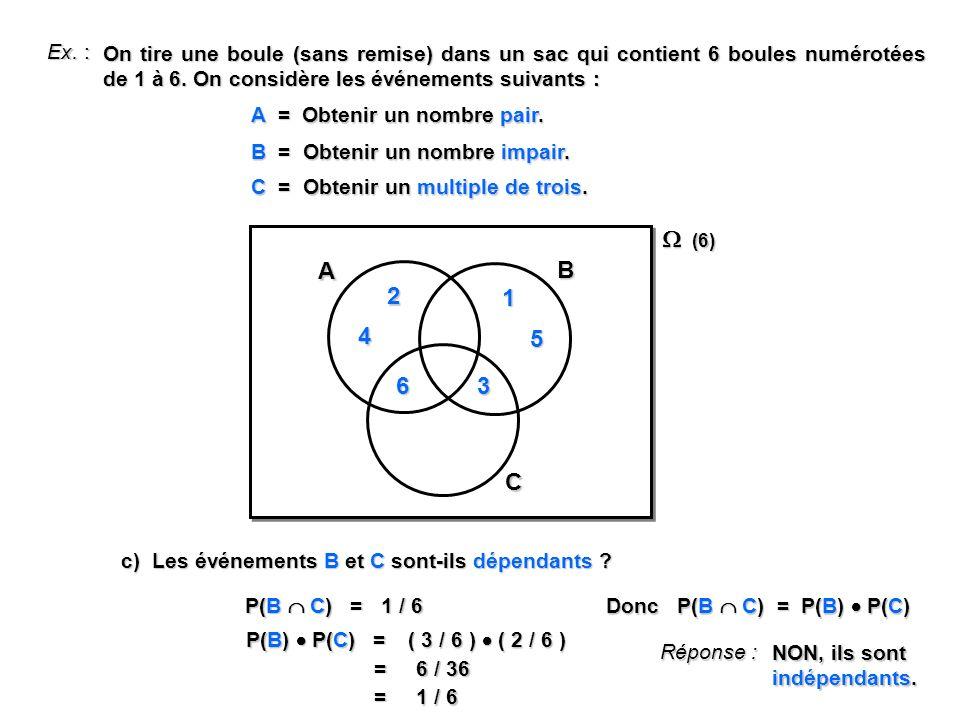 Ex. : A = Obtenir un nombre pair. B = Obtenir un nombre impair. C = Obtenir un multiple de trois. (6) (6) A B 2 1 3 6 C 4 5 c) Les événements B et C s