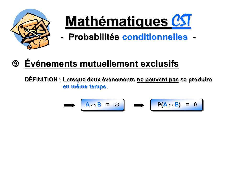 Mathématiques CST - Probabilités conditionnelles - Événements mutuellement exclusifs Événements mutuellement exclusifs DÉFINITION : Lorsque deux événe