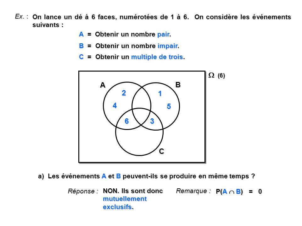 Ex. : On lance un dé à 6 faces, numérotées de 1 à 6. On considère les événements suivants : A = Obtenir un nombre pair. B = Obtenir un nombre impair.