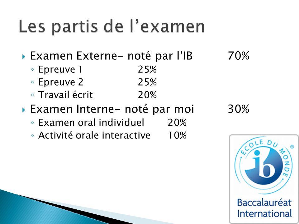 Examen Externe- noté par lIB70% Epreuve 125% Epreuve 225% Travail écrit20% Examen Interne- noté par moi30% Examen oral individuel20% Activité orale in