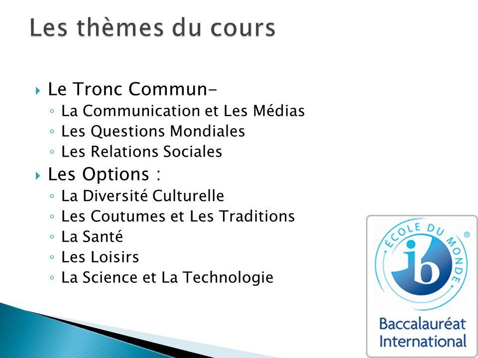 Le Tronc Commun- La Communication et Les Médias Les Questions Mondiales Les Relations Sociales Les Options : La Diversité Culturelle Les Coutumes et L