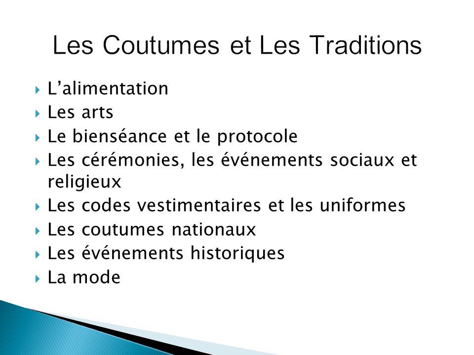 Lalimentation Les arts Le bienséance et le protocole Les cérémonies, les événements sociaux et religieux Les codes vestimentaires et les uniformes Les