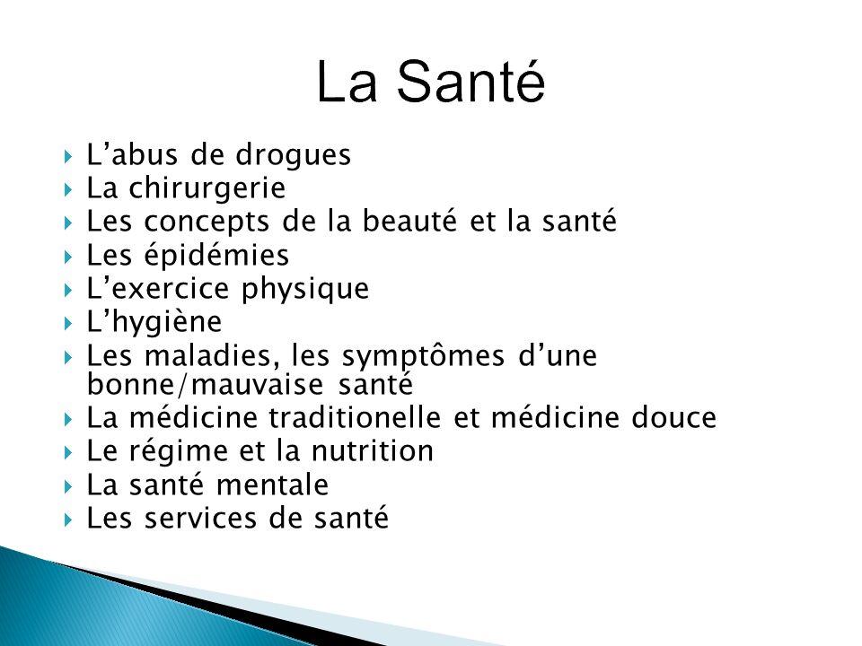 Labus de drogues La chirurgerie Les concepts de la beauté et la santé Les épidémies Lexercice physique Lhygiène Les maladies, les symptômes dune bonne