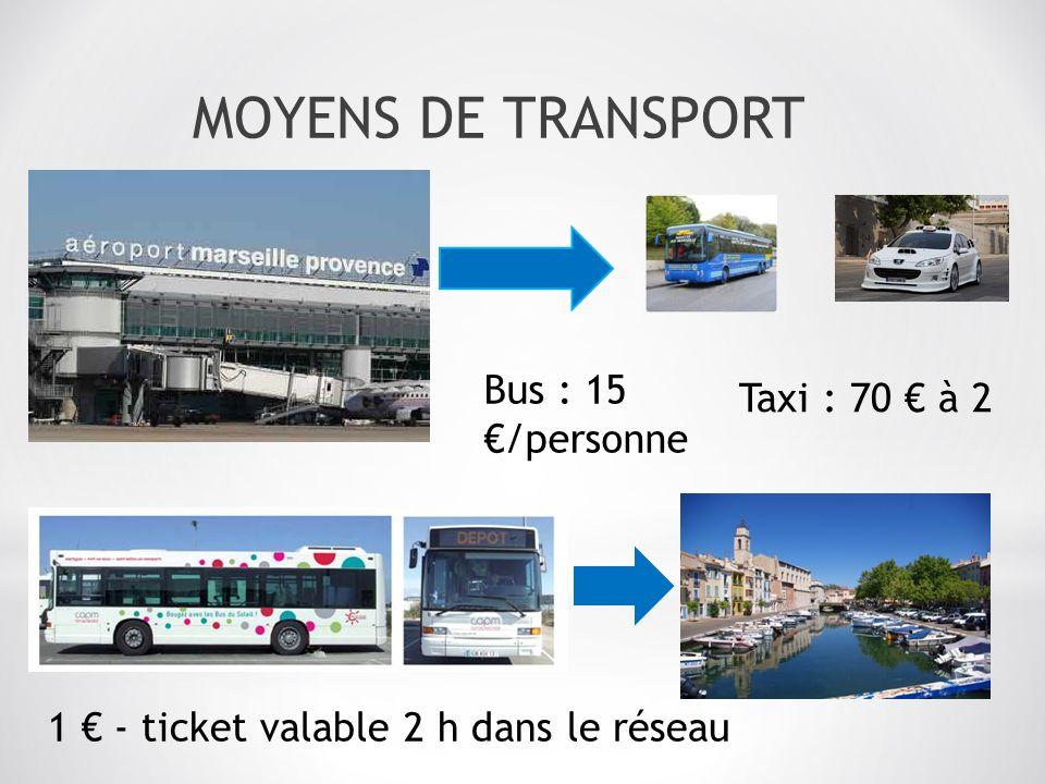MOYENS DE TRANSPORT Bus : 15 /personne 1 - ticket valable 2 h dans le réseau Taxi : 70 à 2