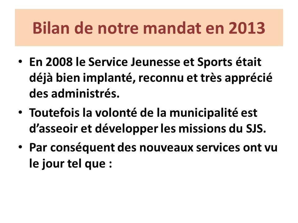 Bilan de notre mandat en 2013 En 2008 le Service Jeunesse et Sports était déjà bien implanté, reconnu et très apprécié des administrés.