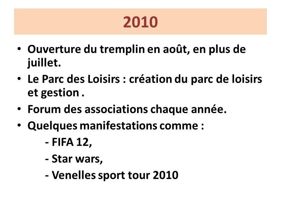 2010 Ouverture du tremplin en août, en plus de juillet.