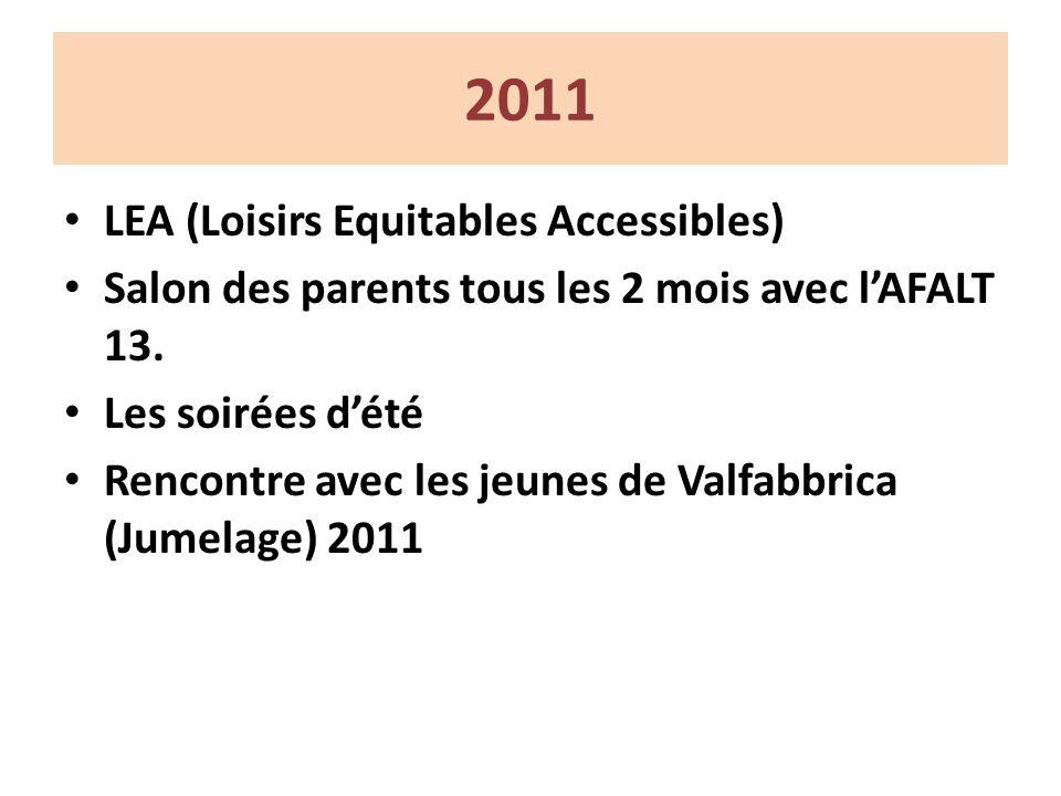 2011 LEA (Loisirs Equitables Accessibles) Salon des parents tous les 2 mois avec lAFALT 13.