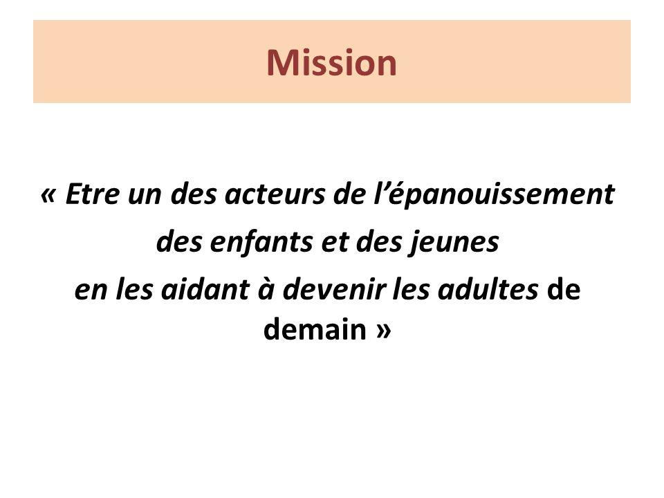 Mission « Etre un des acteurs de lépanouissement des enfants et des jeunes en les aidant à devenir les adultes de demain »