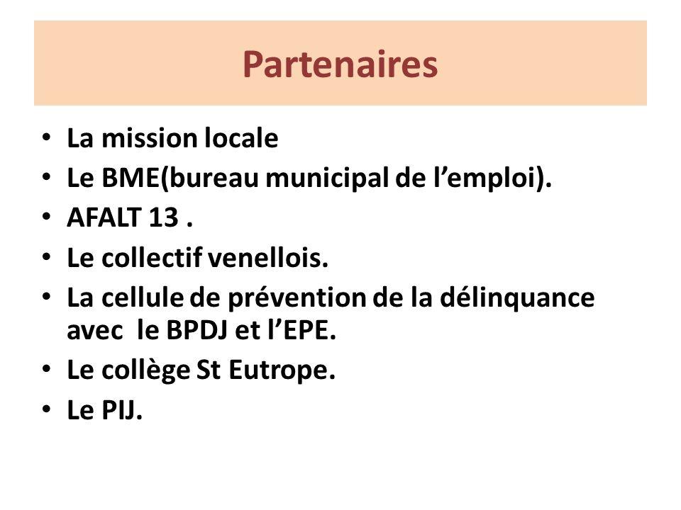 Partenaires La mission locale Le BME(bureau municipal de lemploi).