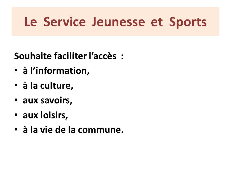 Le Service Jeunesse et Sports Souhaite faciliter laccès : à linformation, à la culture, aux savoirs, aux loisirs, à la vie de la commune.