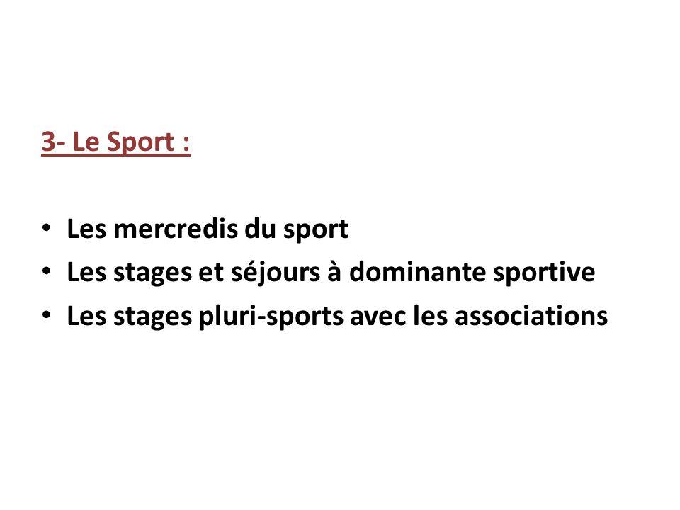 3- Le Sport : Les mercredis du sport Les stages et séjours à dominante sportive Les stages pluri-sports avec les associations