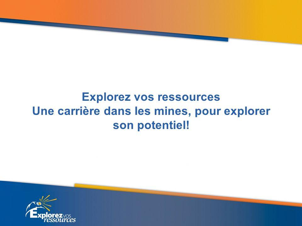 Explorez vos ressources Une carrière dans les mines, pour explorer son potentiel!
