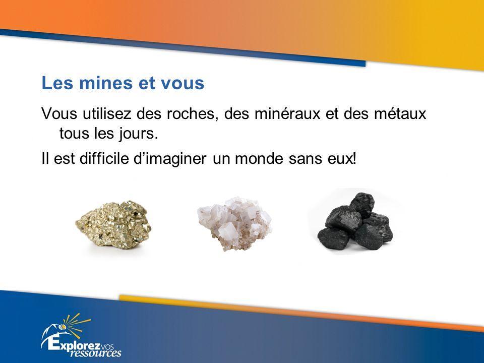 Les mines et vous Vous utilisez des roches, des minéraux et des métaux tous les jours.