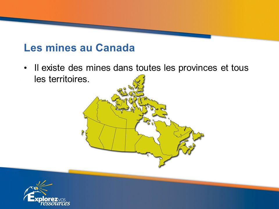 Les mines au Canada Il existe des mines dans toutes les provinces et tous les territoires.