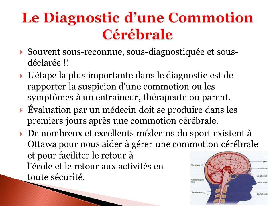 Souvent sous-reconnue, sous-diagnostiquée et sous- déclarée !! L'étape la plus importante dans le diagnostic est de rapporter la suspicion dune commot