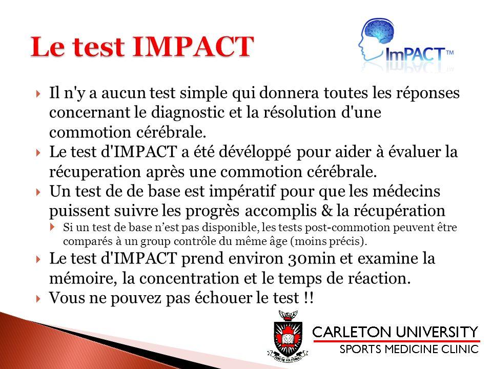 Il n'y a aucun test simple qui donnera toutes les réponses concernant le diagnostic et la résolution d'une commotion cérébrale. Le test d'IMPACT a été