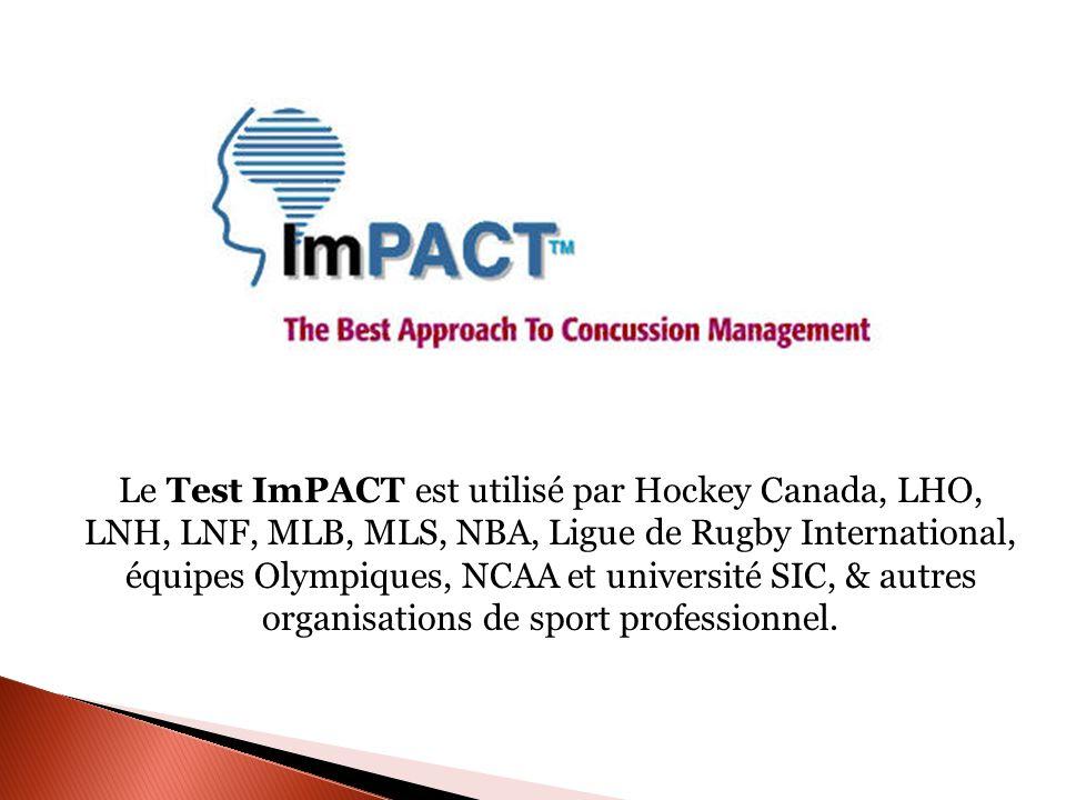 Le Test ImPACT est utilisé par Hockey Canada, LHO, LNH, LNF, MLB, MLS, NBA, Ligue de Rugby International, équipes Olympiques, NCAA et université SIC,