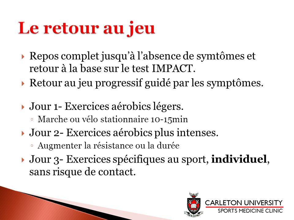 Repos complet jusquà labsence de symtômes et retour à la base sur le test IMPACT. Retour au jeu progressif guidé par les symptômes. Jour 1- Exercices