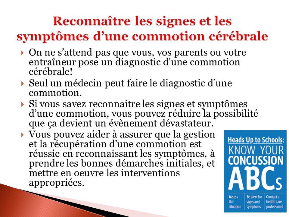 Surveillance des symptômes Lorsquun patient appelle la clinique pour prendre un rendez-vous pour une commotion, on lui demandera de remplir le formulaire SCAT2 à chaque jour.