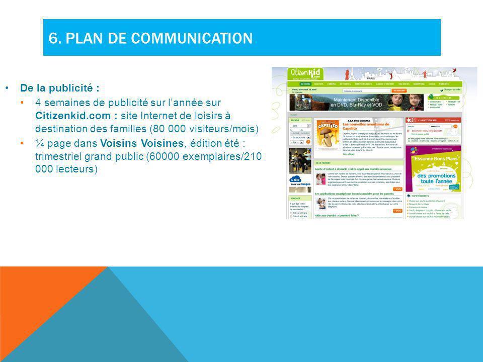 6. PLAN DE COMMUNICATION De la publicité : 4 semaines de publicité sur lannée sur Citizenkid.com : site Internet de loisirs à destination des familles