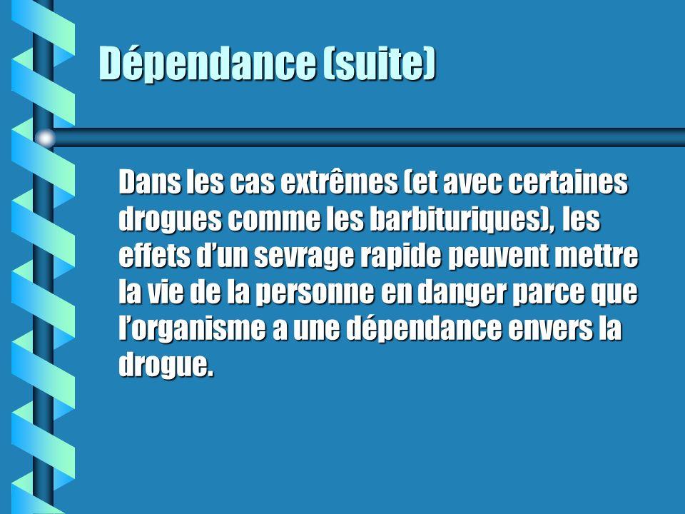 Dépendance Il existe donc deux sortes de dépendances aux drogues : La dépendance physique est un état dans lequel lorganisme sest adapté à la présence