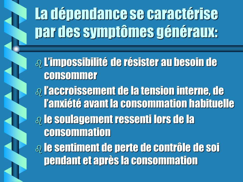 Dépendance (suite) La dépendance psychologique est un état caractérisé par une préoccupation émotive et mentale reliée aux effets de la drogue et par