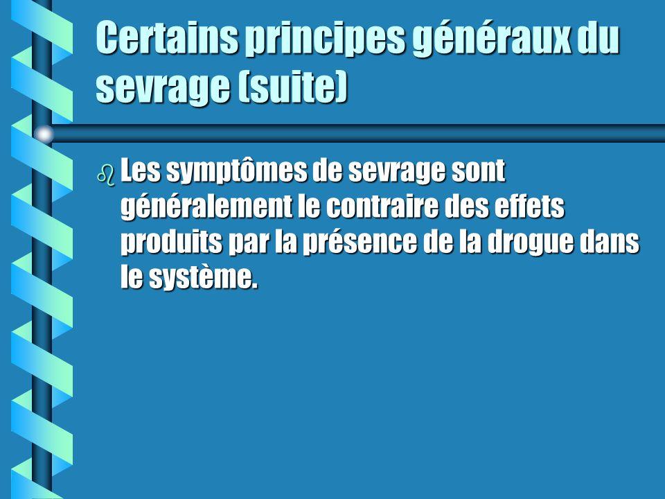 Certains principes généraux du sevrage (suite) b Ces signaux sont de deux natures: physiques et psychologiques. b Ces signes et symptômes peuvent être