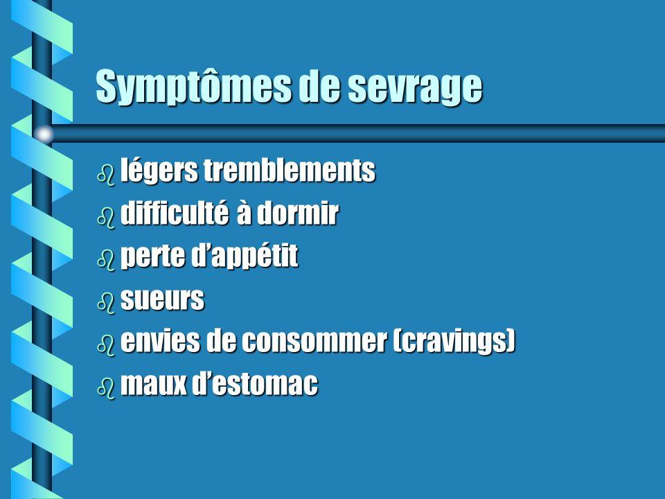 Certains principes généraux du sevrage (suite) b Habituellement, les symptômes de sevrage sont plus intenses chez le grand utilisateur ou celui qui fa