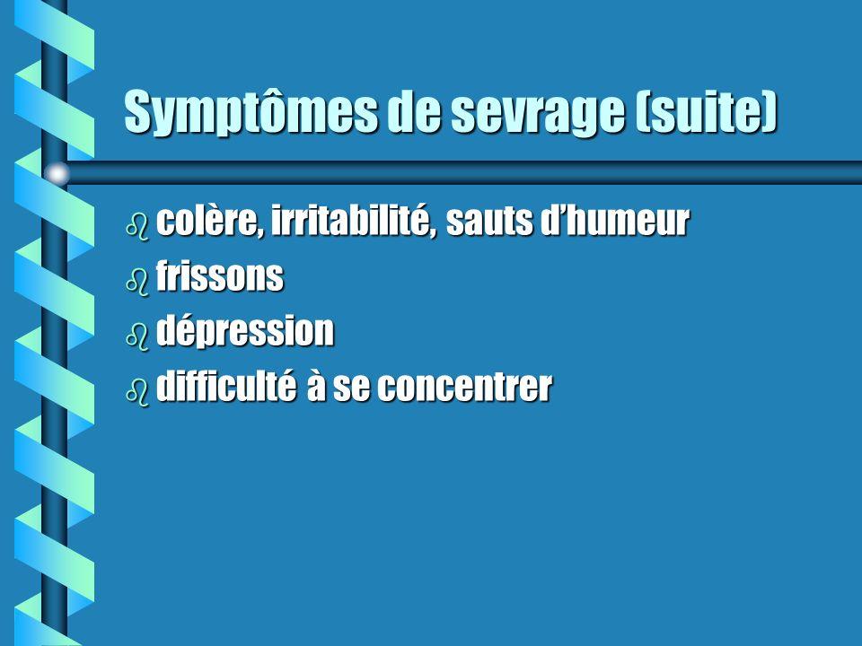 Symptômes de sevrage b légers tremblements b difficulté à dormir b perte dappétit b sueurs b envies de consommer (cravings) b maux destomac