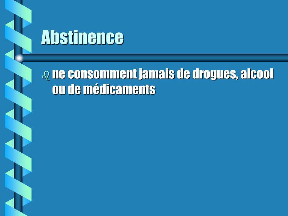 Abstinence b ne consomment jamais de drogues, alcool ou de médicaments