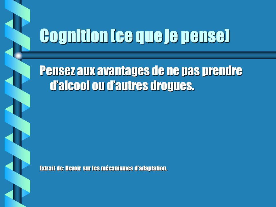 Cognition (ce que je pense) b Utilisez des affirmations positives comme: >. b Mettez un frein à vos pensées (ex: visualisez un panneau dARRÊT). b Pens