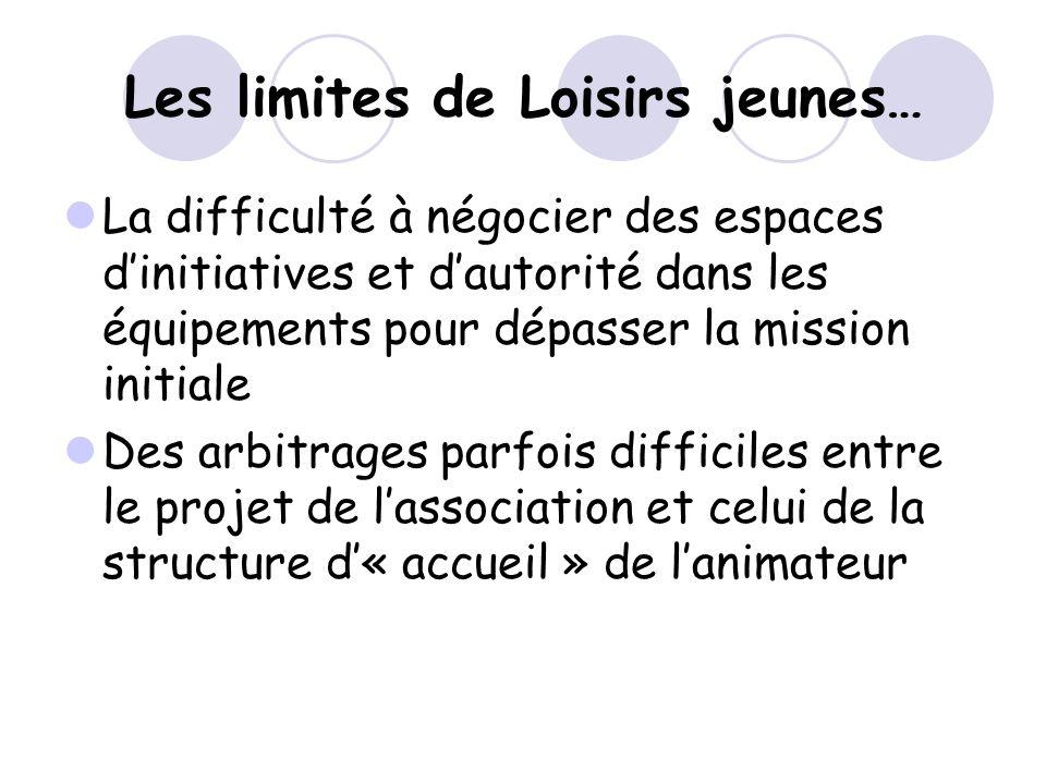 Les limites de Loisirs jeunes… La difficulté à négocier des espaces dinitiatives et dautorité dans les équipements pour dépasser la mission initiale D